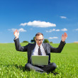 Stock Photo: Jubilant manager in green grassy field