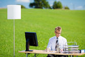 Office on green meadow — Stock Photo