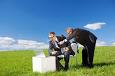 Businessmen in green meadow — Stock Photo