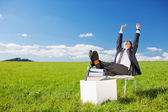 Businessman raising his arms — Stock Photo