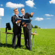 Two businessmen in field — Stock Photo