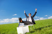 Businessman relaxing in the fresh air — Stock Photo