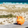 Piggybank in holidays — Stock Photo