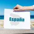 Stock Photo: Hand Holding EspanSign At Beach