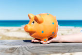 Piggy bank standing by the beach — Stock Photo