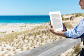 Woman Reading E-Reader At Fence On Beach — Stock Photo