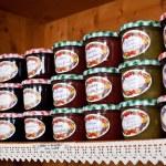 Jam jars made of various fruit types — Stock Photo