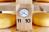 Thermometer and Hygrometer in a cheese cellar — Stock Photo