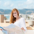 Pretty young au-pair studying a map — Stock Photo #26088301