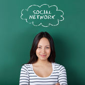 Female student thinking of social network — Stock Photo
