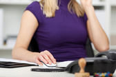 Businesswoman Using Computer Mouse At Desk — Stock Photo