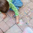 Boy Painting with chalk — Stock Photo