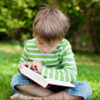 Cute young boy sitting on grass and reading — Stock Photo