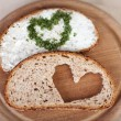 Bread With Cheese Cream Spread And Heart Made Of Herbs In Plate — Stock Photo