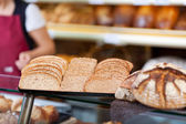 Slices of whole meal bread at bakery — Stock Photo