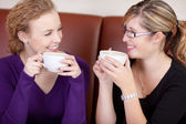 Two friends talking and having coffee — Stock Photo