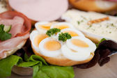 Slices Of Boiled Eggs On Bread — Stock Photo