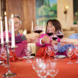 Toasting Wine Glasses At Restaurant — Stock Photo