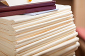 Stacked Tablecloths In Restaurant — Stock Photo