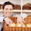 Assistant selecting rolls in a bakery — Stock Photo