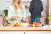 Par tillaga hälsosam mat — Stockfoto