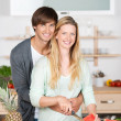 Amorous couple hugging — Stock Photo