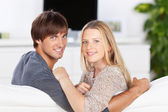 Relaxing couple at home — Stock Photo