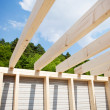 Stock Photo: Roof beams of unfinished roof