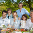 Family Smiling Together At Dining Table — Stock Photo #26259093