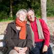 Happy tender senior couple sitting on a bench — Stock Photo