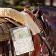 Stock Photo: Horse saddle and map