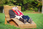 A senior couple enjoying a funny moment — Stock Photo