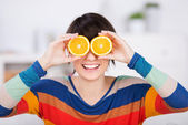 Woman with citrus — Stock Photo
