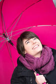 Young woman with umbrella — Stock Photo