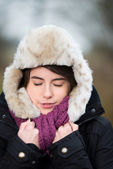 Freezing in winter — Stock Photo