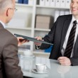Smiling applicant in job interview — Stock Photo #26377227
