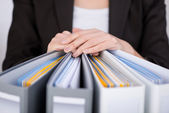 Businesswoman With Binders — Stock Photo