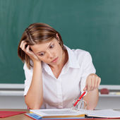 Depressed young female student — Foto Stock
