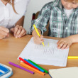 Small boy coloring — Stock Photo