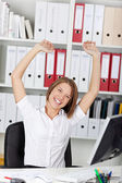Excited triumphant woman rejoicing — Stock Photo