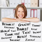 Happy businesswoman says Thank You — Stock Photo