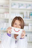 Smiling chemist — Стоковое фото