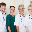 Confident Doctor's Team Smiling While Standing In Row — Foto Stock