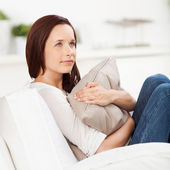 Woman daydreaming at home — Stock Photo