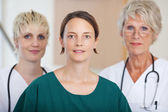 Confident Serious Medical Team Of Doctors In Clinic — Fotografia Stock