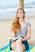 Relaxed Woman With Book On Beach — Stock Photo