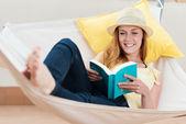 Happy Woman Reading Book In Hammock — Stock Photo