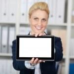 Businesswoman Presenting Digital Tablet — Stock Photo #26578317