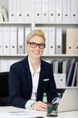 Smiling Businesswoman With Glasses — Stock Photo