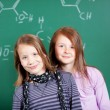 Two pretty little girls in school — Stock Photo